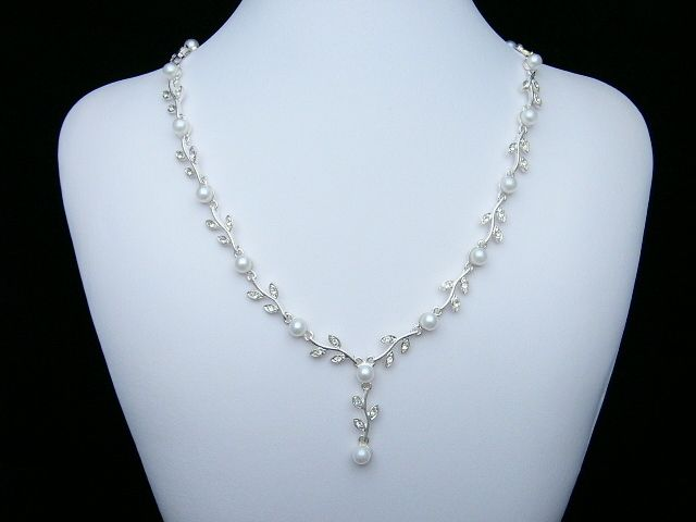Wedding Prom Rhinestone Crystal Pearl Necklace Earrings Set 1114