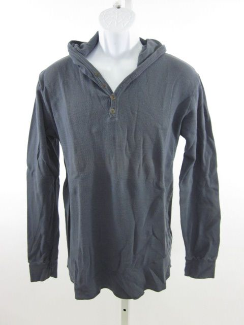 BDG Mens Blue Hooded Long Sleeve Thermal Shirt Top L