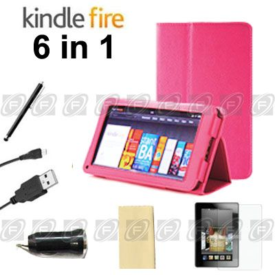 For Kindle Fire Folio Case Cover/Car Charger/USB Cable/Protector
