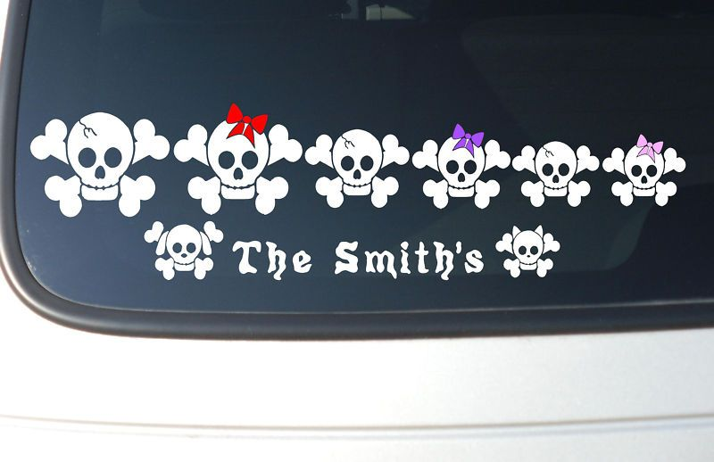 Skull and Cross Bones Family Stick Figure Car Decal