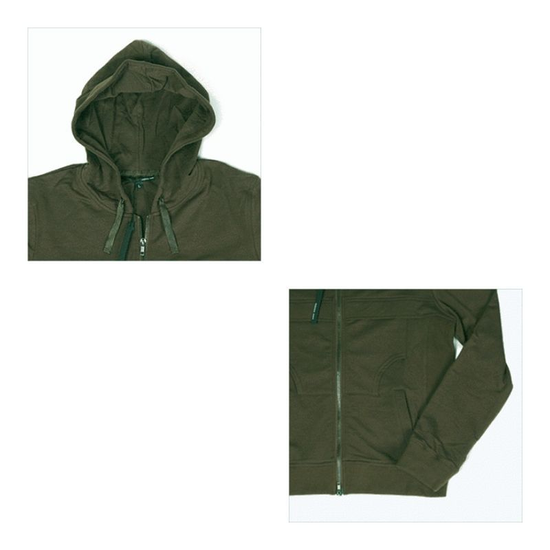 MENS DOUBLE ZIP HOODY RIBBED SIDES SWEAT JACKET 123CZ