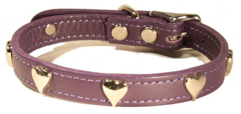 Dog Pet Puppy Stud Valentines Day Heart Red Soft Leather Collar Love D