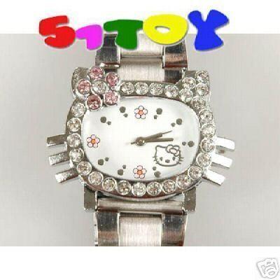 Hello Kitty steel rhinestone Wrist Quartz Watch 0350