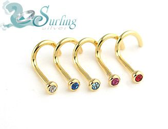 LOT OF 5 *18K* GOLD PLATED NOSE RINGS SCREWS STUD 18G
