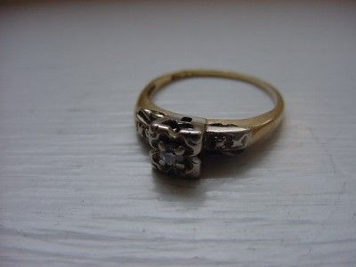 Antique 14k Solid Yellow & White Gold Diamond Ring Euro