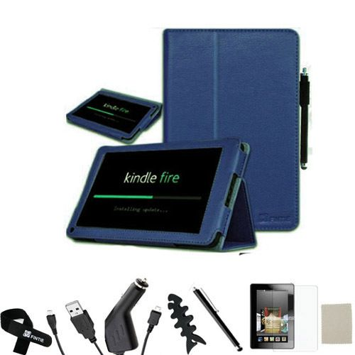 Fire Leather Case/Car Charger/USB/Stylus/Screen Protector Navy Blue