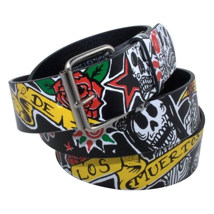 LOS MUERTOS LEATHER BELT ***NEW*** Mexican Day Of The Dead Sugarskull